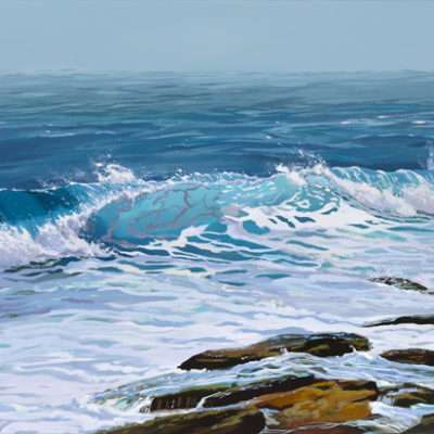 ocean wave breaking on a rocky shore, oil on canvas painting