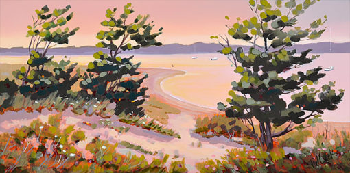 "Watch Hill Harbor, Shore Splendor, 8"" x 16"" oil on canvas, ©2019 PJ Cook"