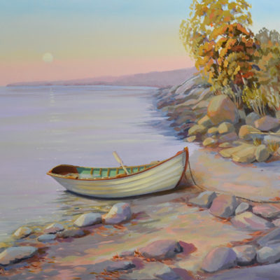 Small boat pulled up onshore with sunset colors and moon, 18 x 24 oil on canvas PJ Cook.