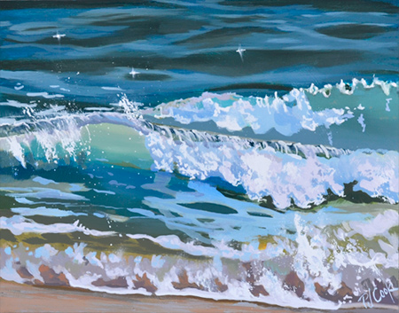"Sea Surf, 8"" x 10"" wave painting on panel."