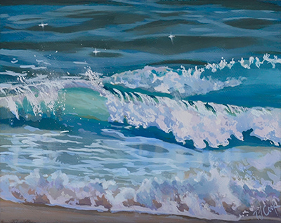 "Sea Surf, 8"" x 10"" wave oil painting on panel."