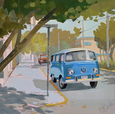 VW Bus on a Key West street corner painting.