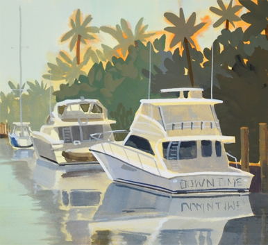 Boats in Ft Lauderdale, FL, painting with palm trees.