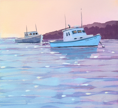 Lobster Boats is series number 2 in original gouache painting..