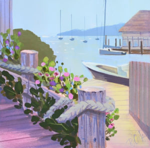 Martha's Vineyard harbor painting with flowers.