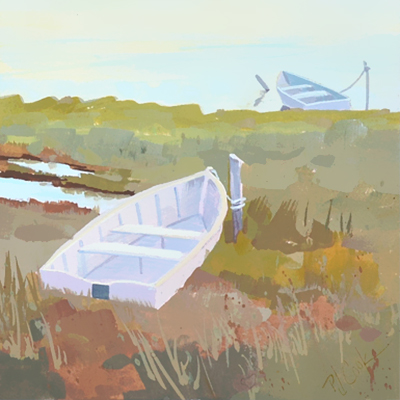 Small boats in marsh painting, #4 in boat series.