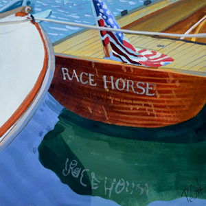 Wooden boat at dock with water reflections, gouache painting.