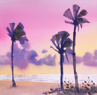 Ft Lauderdale Beach sunrise painting with palm trees.