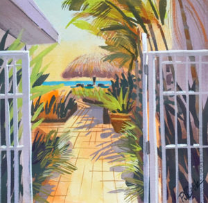 Lauderdale By the Sea view of tropical path to a tiki hut painting.