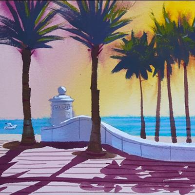 Ft Lauderdale Beach at Las Olas, original painting, series number 2.