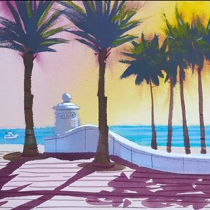 Ft Lauderdale Beach at Las Olas, original painting, series number 2.