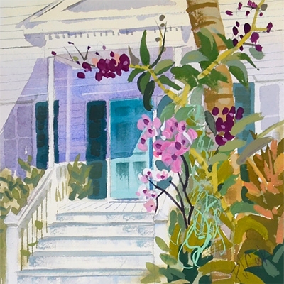 "Key West door with colorful orchids, 6.5""x6.5"" gouache painting by artist PJ Cook"
