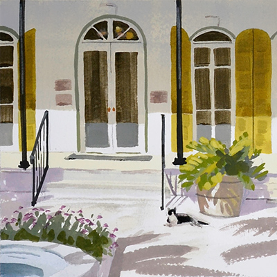 Small painting of the front door of the Hemingway House with a cat.