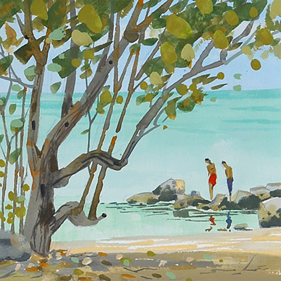 Number 4 in the Key West, Florida series of small paintings features the Fort Zachary Taylor Beach