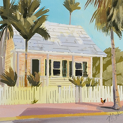 Rooster on the sidewalk is featured in this small painting Key West.