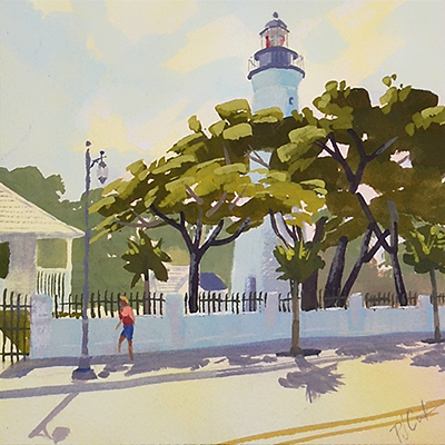 Key West Lighthouse in the bright afternoon sunlight.