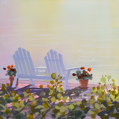Chairs on a dock with flowers painting by PJ Cook.
