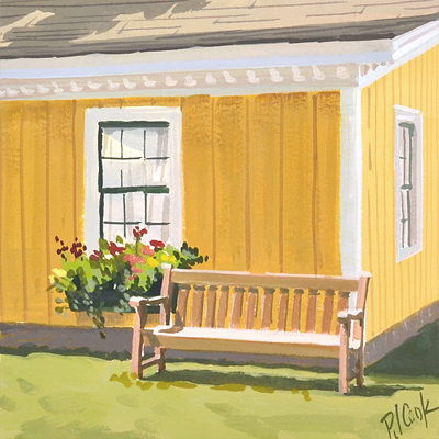 Catching the light on a wooden bench is the subject in this gouache painting.
