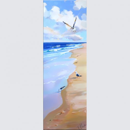 Beach seascape with seagulls and ocean waves painting.