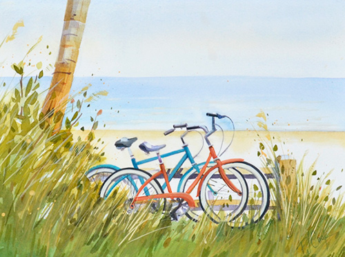bicycles at the beach, watercolor and gouache painting.