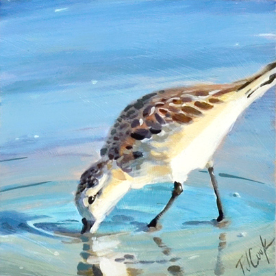 sandpiper at the beach, oil painting