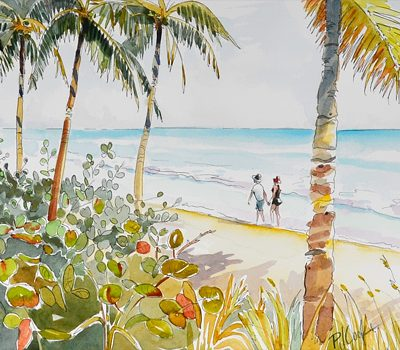 Tropical Beach Walk watercolor painting