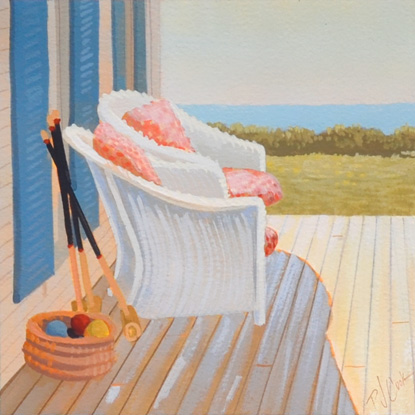 wicker chairs on porch with ocean view painting by PJ Cook