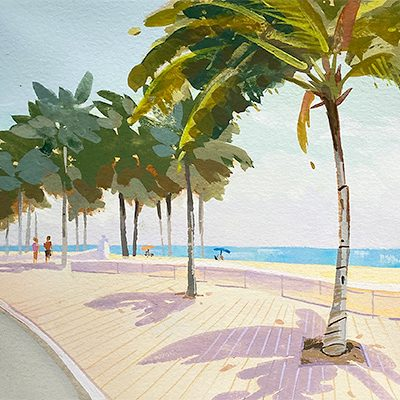 Ft Lauderdale Beach painting, palm trees at the beach.