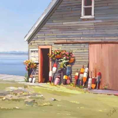 seaside Maine with lobster buoy's, oil on panel, PJ Cook.