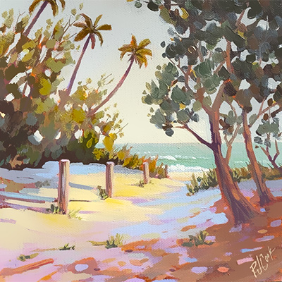 8x8 oil on canvas, path to the beach painting