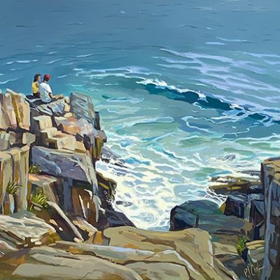 couple sitting on a rocky shore overlooking the ocean, 23 x 26 oil painting by PJ Cook.