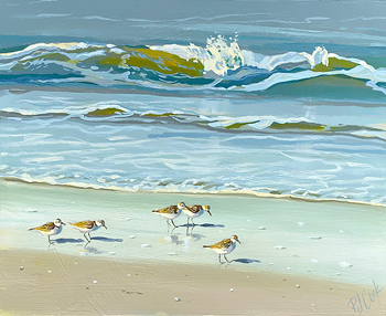 Beach sandpiper birds seascape painting by PJ Cook.