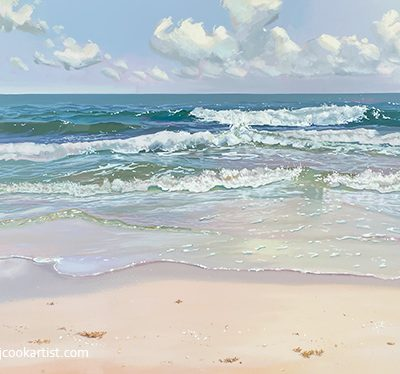 """30"""" x 40"""" beach seascape oil on canvas painting by PJ Cook."""